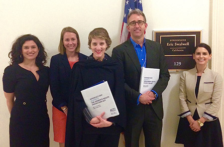 Outside U.S. Representative Eric Swalwell's office (D-CA). Met with his staff to urge his help in gaining more co-sponsors for the bill - he is a co-sponsor. Left to right: Liza Fuentes, Allison Parker, Rosalind Helfand, Dr. Michael Rothrock, and Sarah Kaplan (of Rep. Swalwell's office).